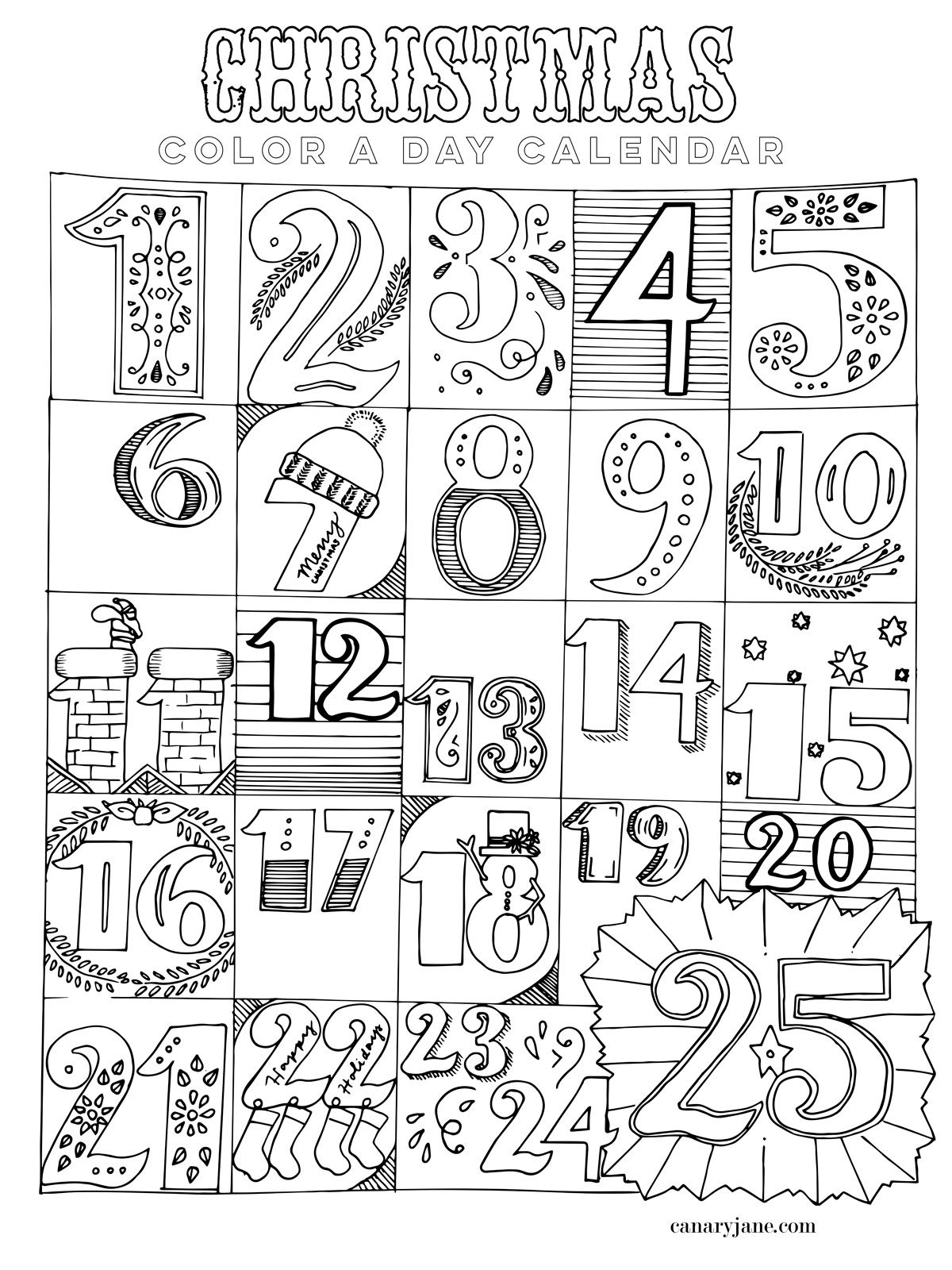 Joe Blog 25 Days Of Christmas Coloring Pages