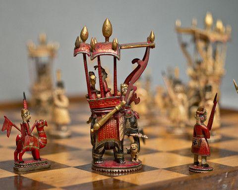 A Fine Rajasthan Figural Chess Set Circa 1840 Family