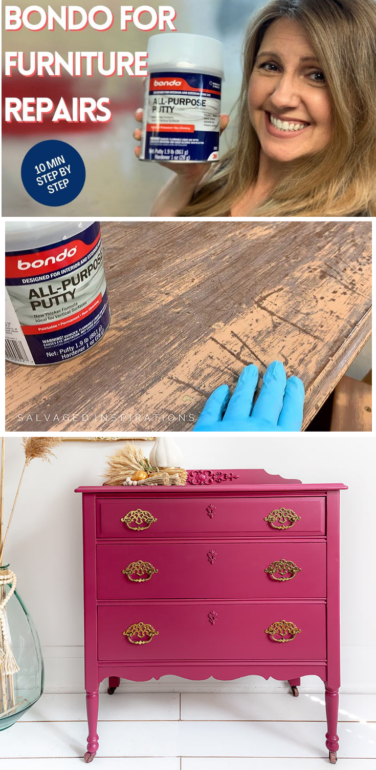 Furniture Repairs with BONDO | Plum Crazy Vintage Furniture Makeover | Salvaged Inspirations #siblog #salvagedinspirations #paintedfurniture #furniturepainting #DIYfurniture #furniturepaintingtutorials #howto #furnitureartist #furnitureflip #salvagedfurniture #furnituremakeover #beforeandafterfurnuture #paintedvintagefurniture #roadsiderescues