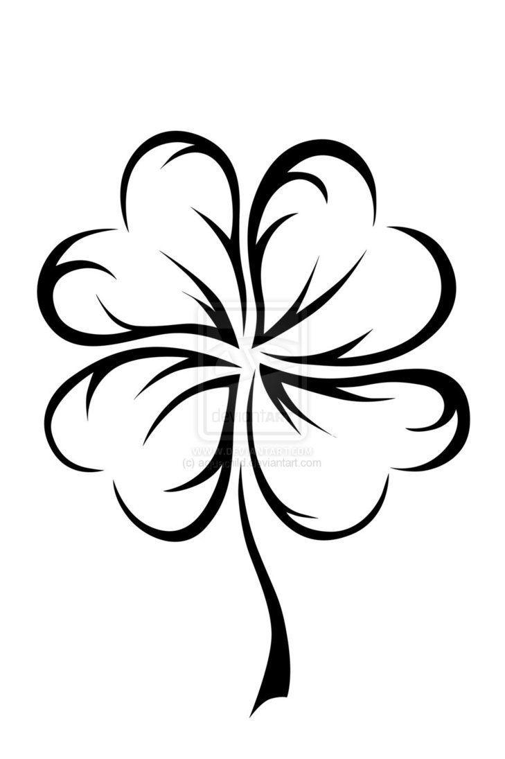 Heart 4 leaf clover design   tattoo   Pinterest   Trébol de cuatro ...