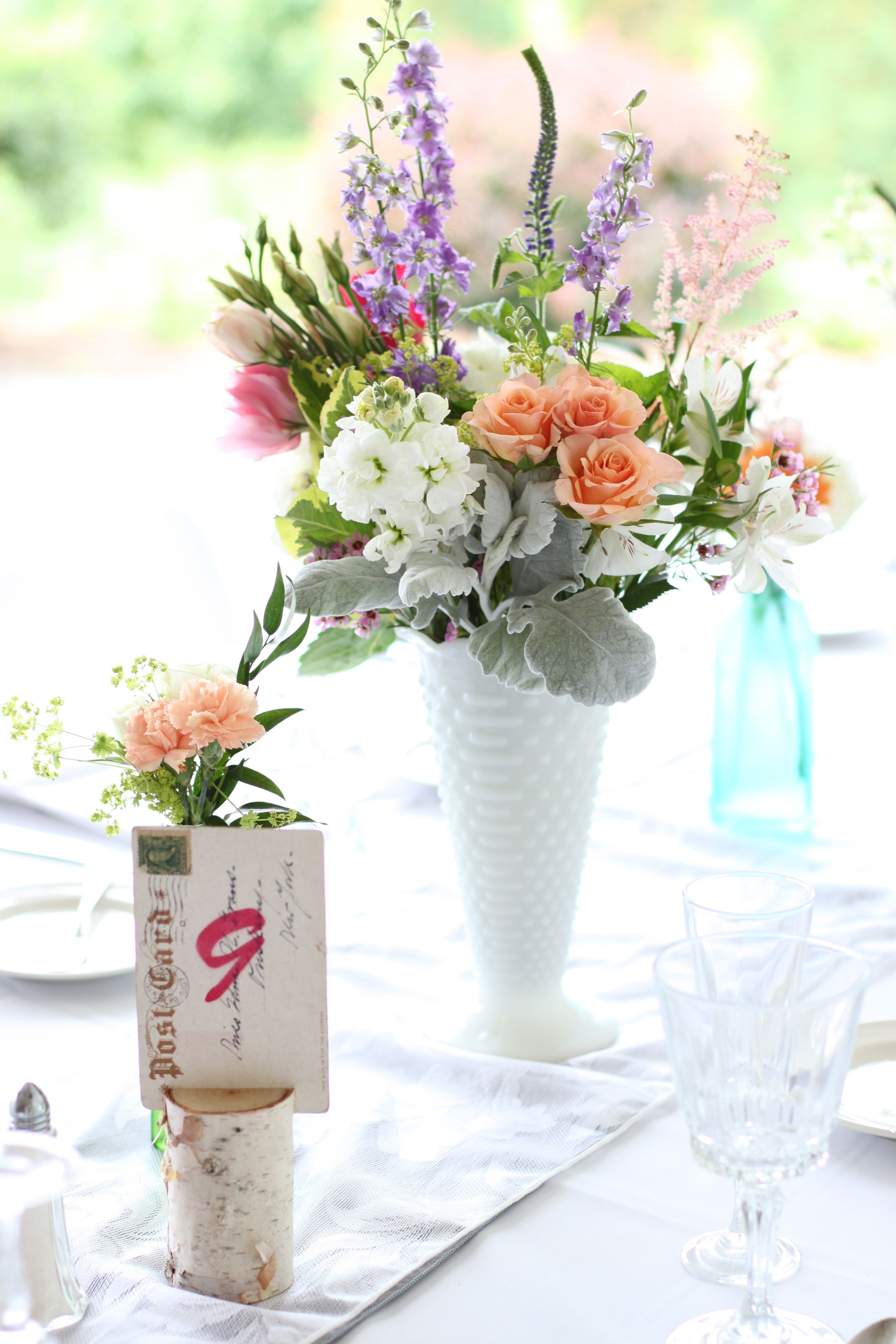 Milk glass centerpiece wedding flower inspiration