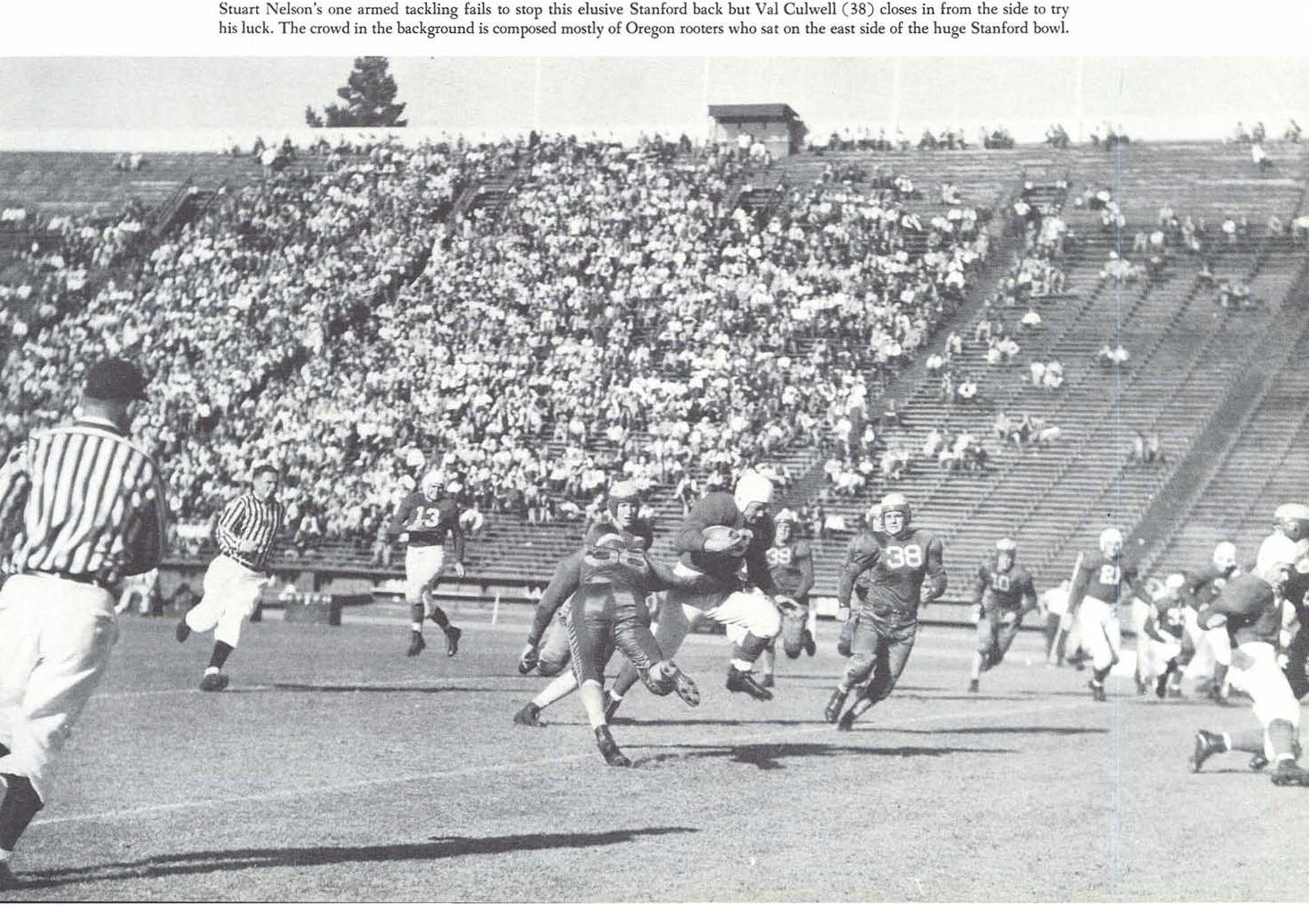 1940 Oregon - Stanford football game in Palo Alto, CA.  From the 1941 Oregana (University of Oregon yearbook).  www.CampusAttic.com