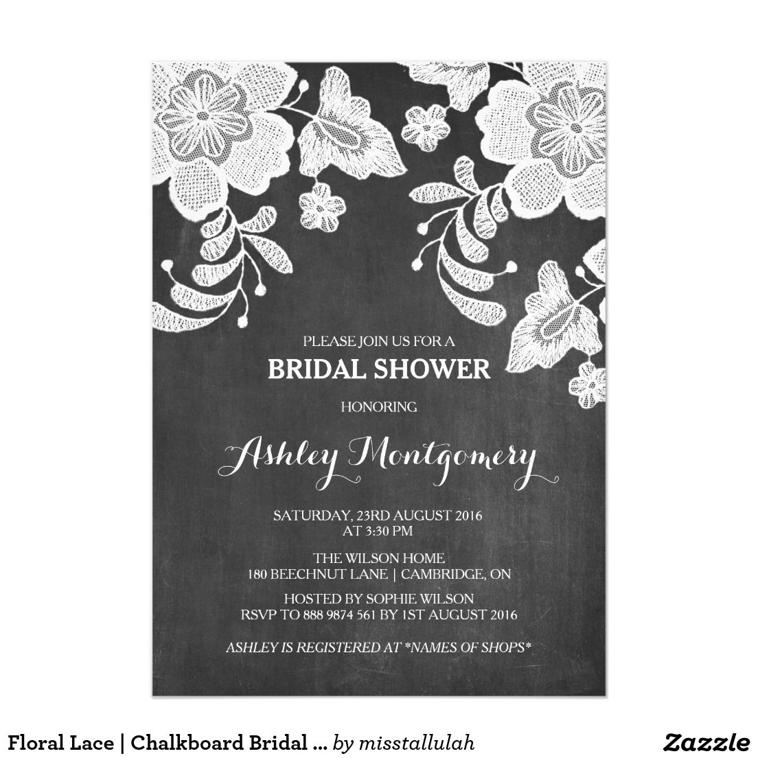 Floral Lace | Chalkboard Bridal Shower Invitation. Elegant Chalkboard Bridal Shower Invitation Templates. Classy bridal shower invitations that you can order online. Customized for the new bride to be. Elegant bridal shower invitation that feature a nice chalkboard background, great design and typography. Click image to customize. Feel free to like or repin.