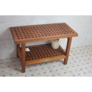 Aquateak 30 Inch Teak Grate Shower Bench With Shelf For The Home