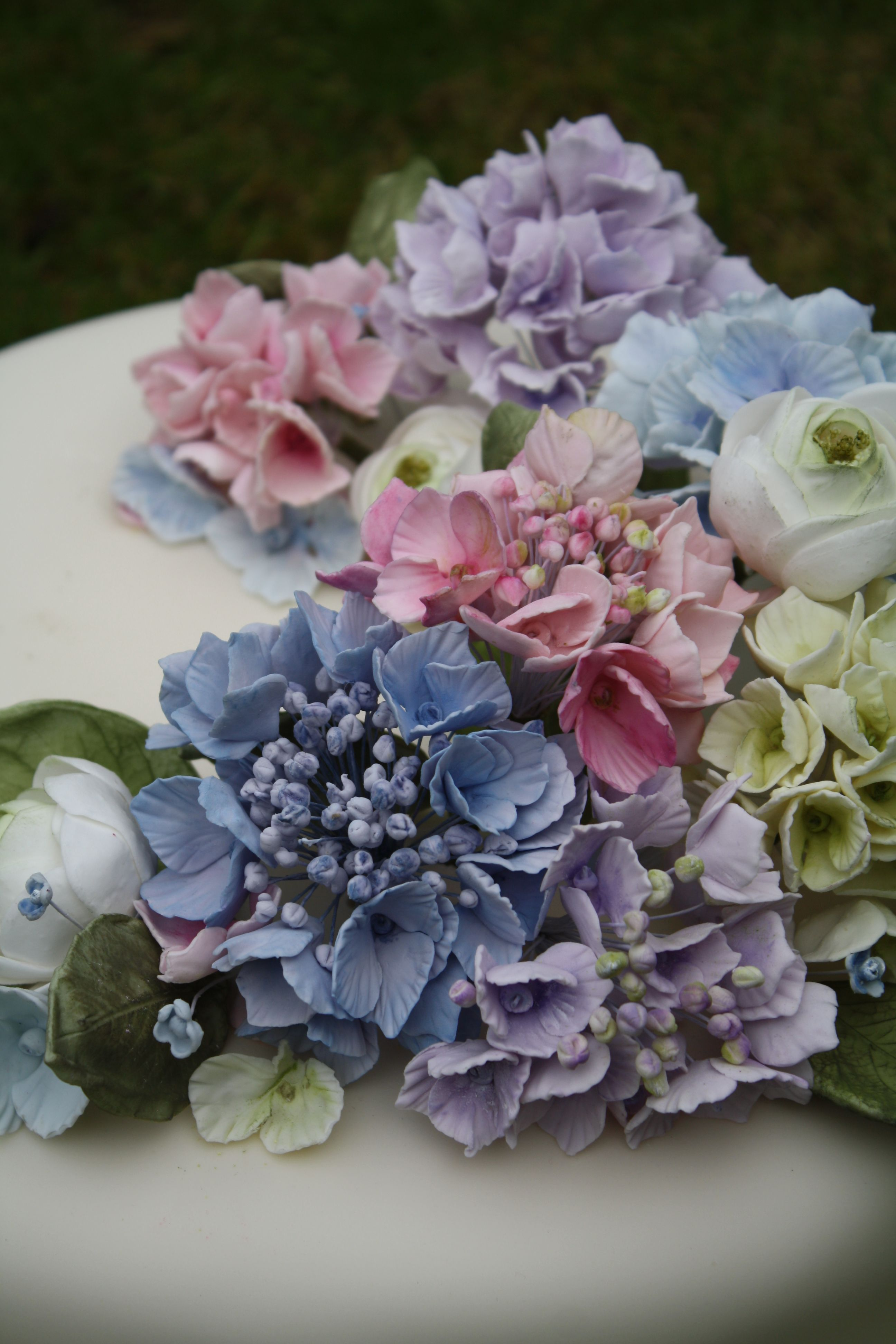 my hydrangea love cake, all flowers made from sugarpaste.  amyswanncakes.co.uk