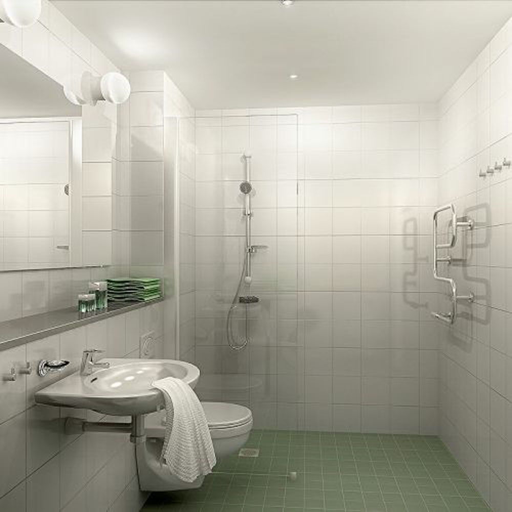 Bathroom Tile Decorating Ideas White On The Walls Coupled With The Pale Wooden Flooring