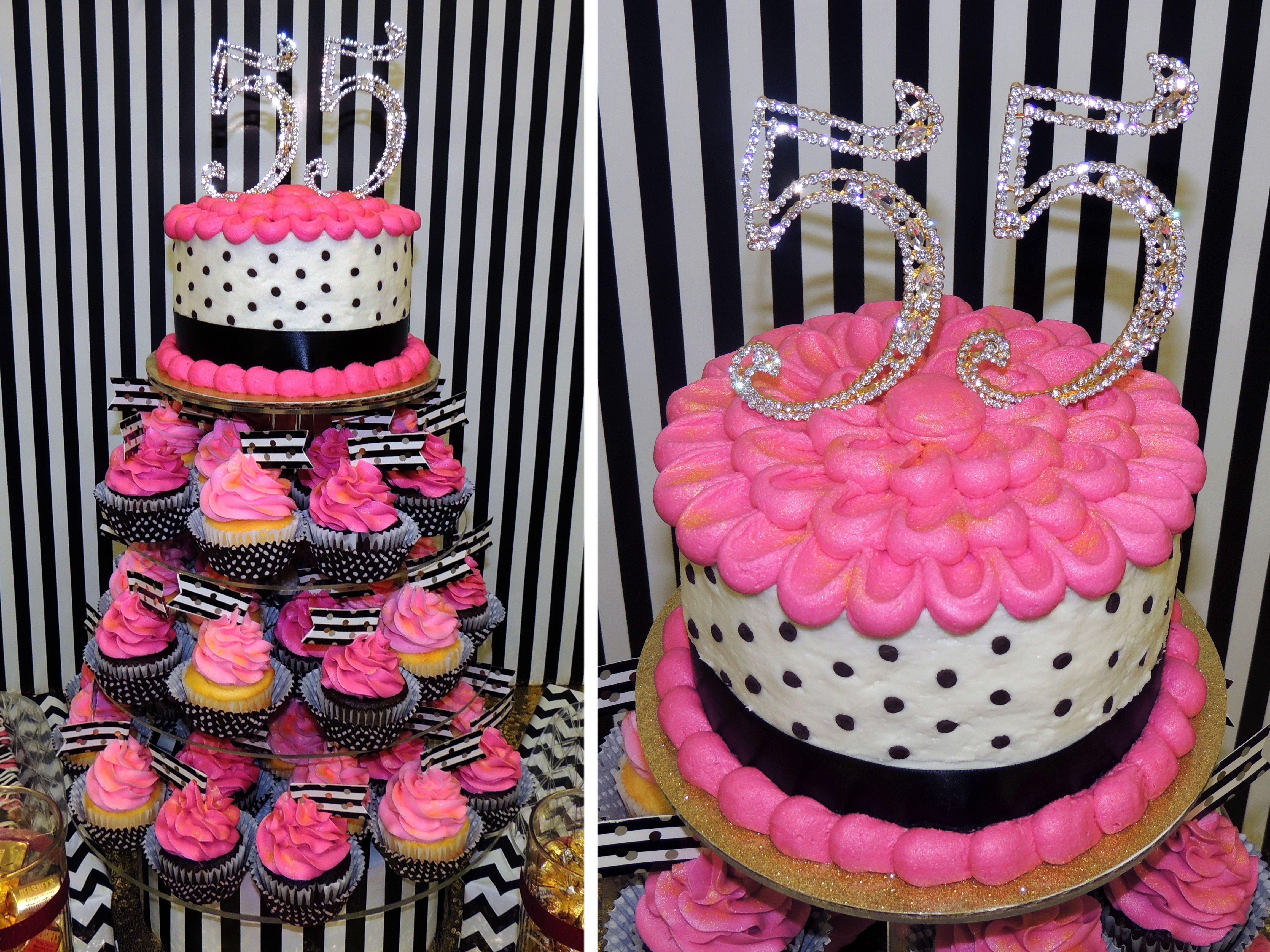 55th Birthday Cake Hot Pink Black White And Gold Birthday Cake