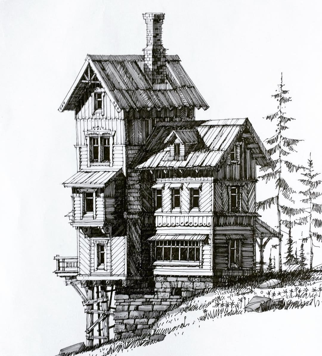 картинки дома черной ручкой время она жила
