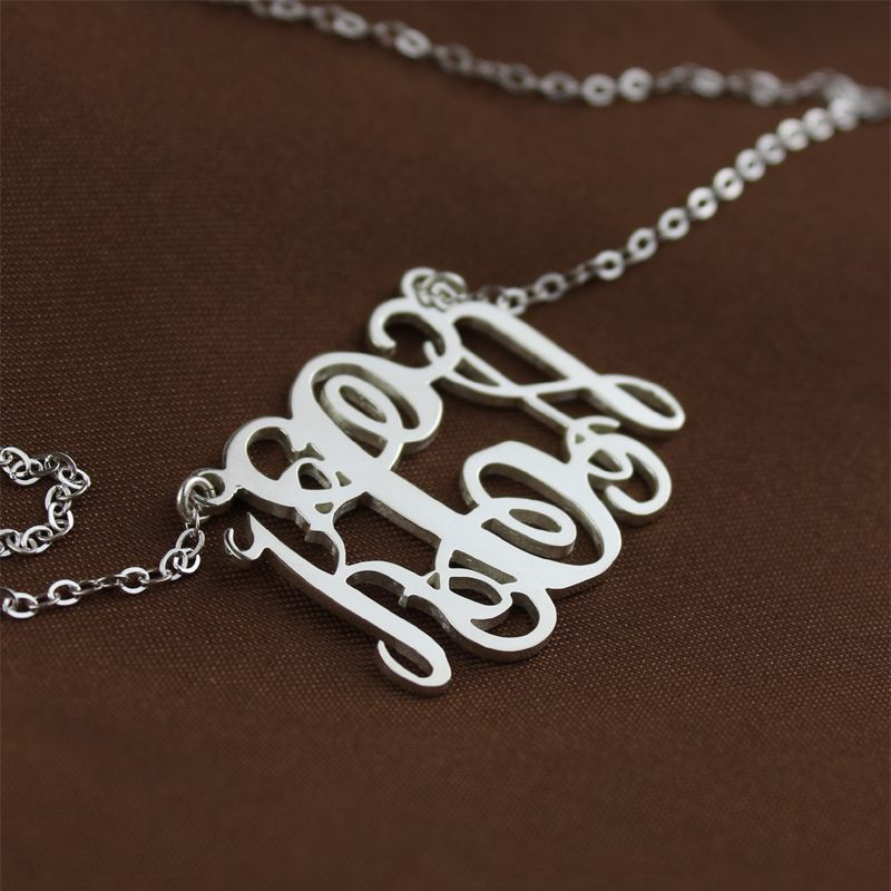 Alexis Bellino Style Monogram Necklace Solid White Gold 10k 14k 18k Monogram Necklace Gold Personalized Monogram Necklace Gold Monogram