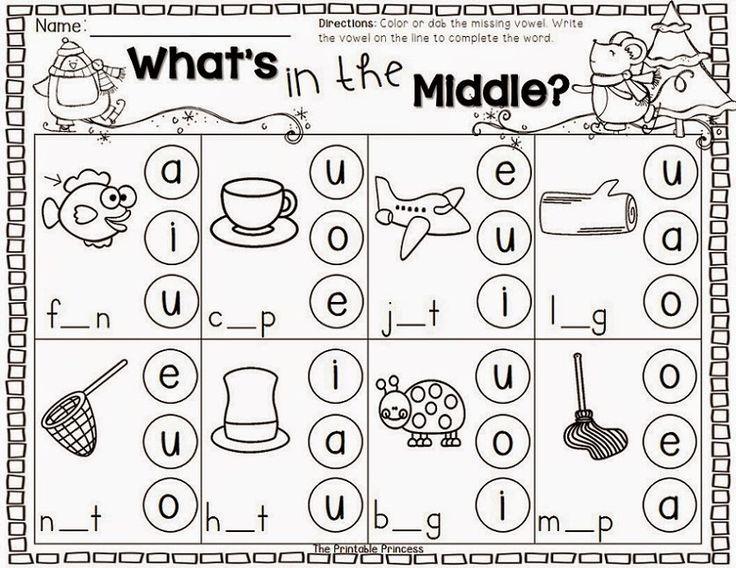 Winter Literacy Centers for Kindergarten – Free Short Vowel Worksheets