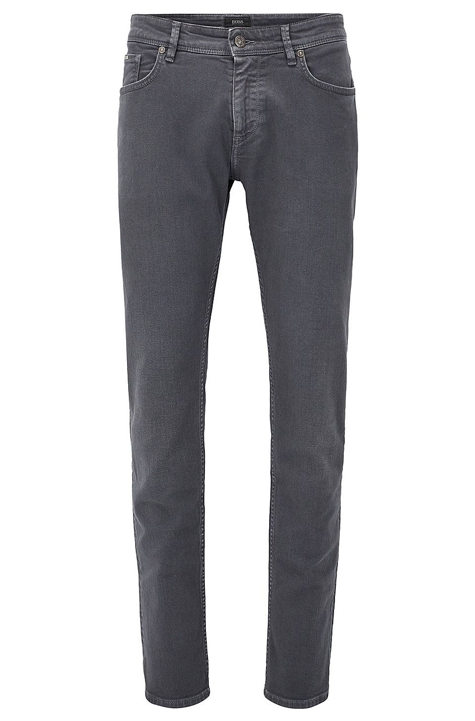4cea7af69b20 HUGO BOSS Slim-fit jeans in comfort-coloured denim - Dark Grey Jeans from  BOSS for Men in the official HUGO BOSS Online Store free shipping
