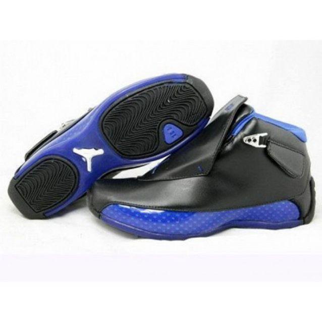 69f2213b60cf77 Mens Nike Air Jordan 18 Retro Black Blue Shoes