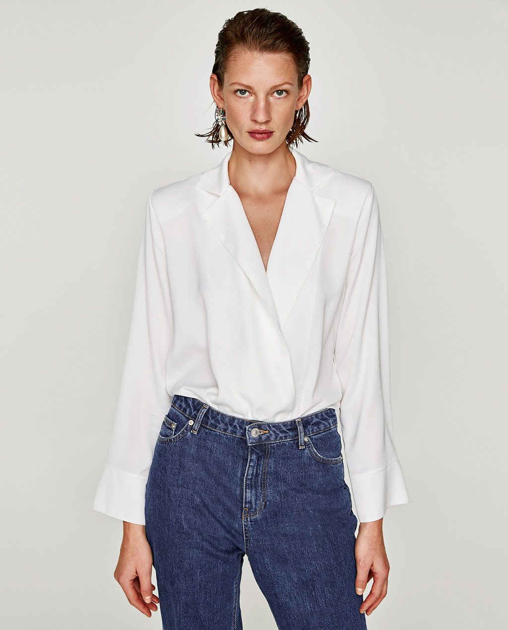 7c0b8dd1746d BODYSUIT WITH LAPEL COLLAR-View all-TOPS-WOMAN | ZARA United States ...