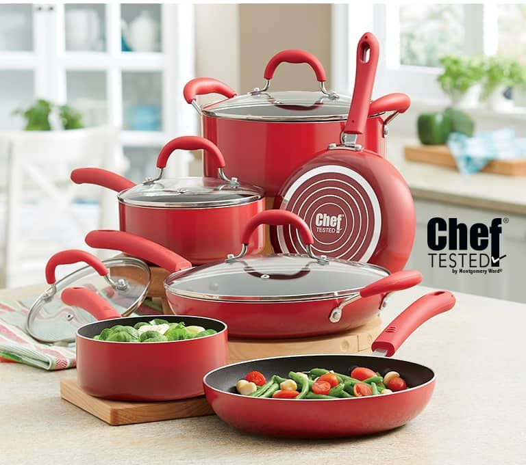 Chef tested 10piece red cookware set with gradient