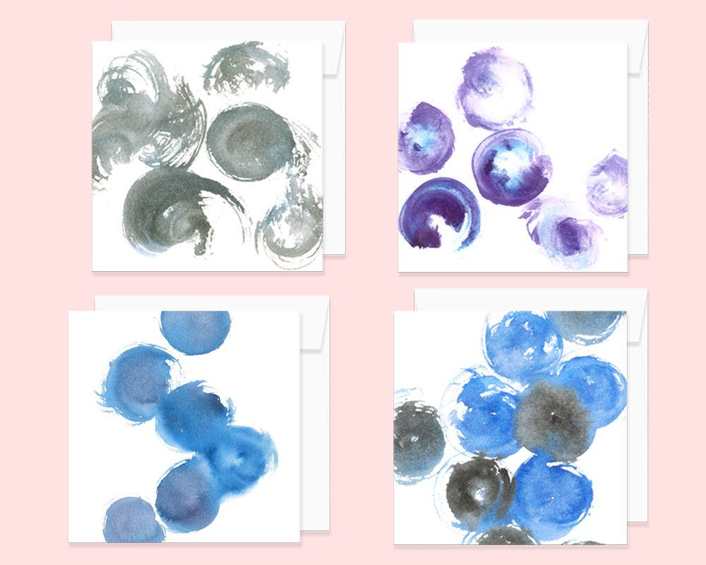 Abstract Watercolor Note Card Set With Envelopes Set Of 4