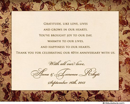 40th anniversary thank you cards