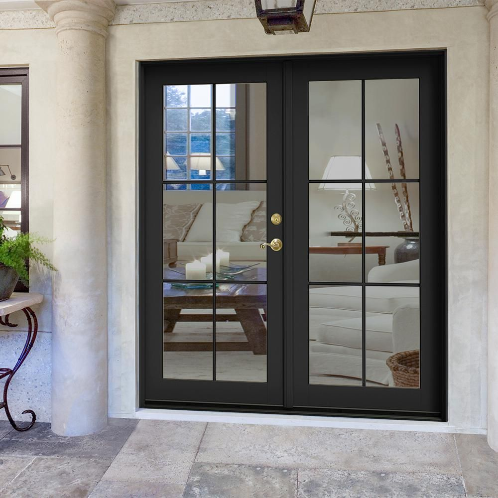 Jeld Wen 72 In X 80 In W 2500 Bronze Clad Wood Left Hand 6 Lite French Patio Door W Unfinished Interior Thdjw221900262 The Home Depot French Doors Exterior French Doors Patio Brick Exterior House