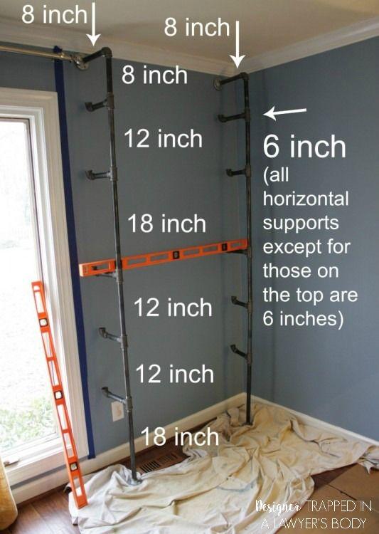 diy pipe shelves and built in desks diy pinterest haus m bel und regal. Black Bedroom Furniture Sets. Home Design Ideas