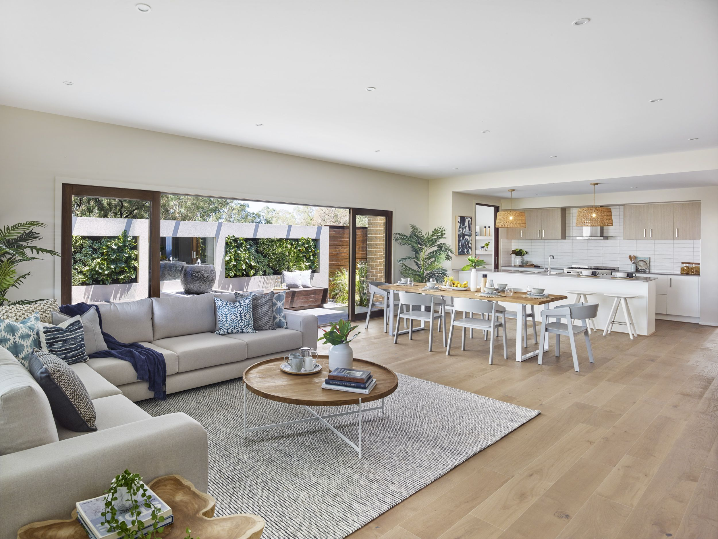The coastal, free flowing open plan living area with a seemingly ...