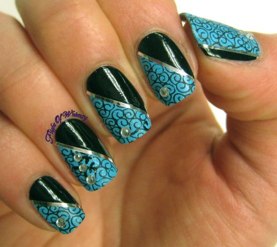 KBShimmer's I'd Rather Be With Blue with Sinful Colors Black on Black diagonal, silver striping tape, and gems.