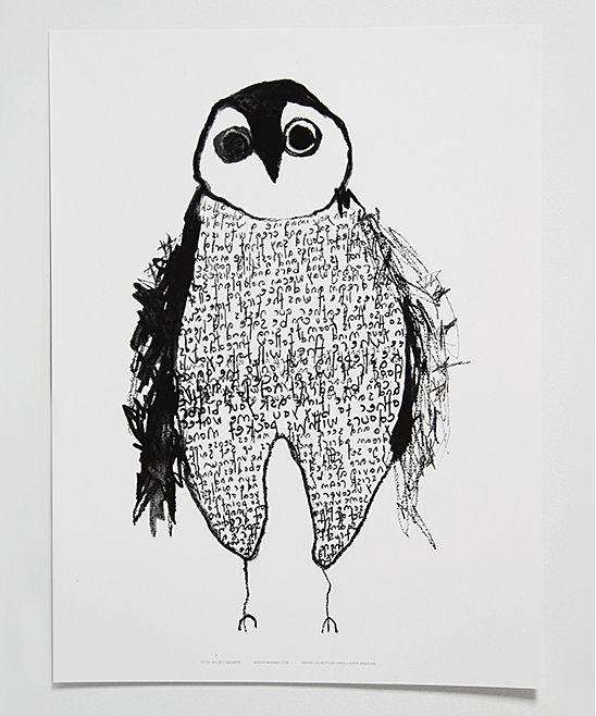 White & Black Falling Iceberg Owl Poster//