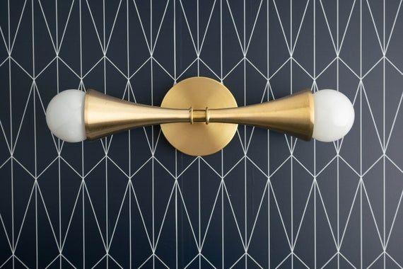 Photo of Vanity Light – Trumpet Shade – Brass Bathroom Light – Brass Vanity Light – Raw Brass – Retro Style – Art Deco Lighting – Model No. 7237