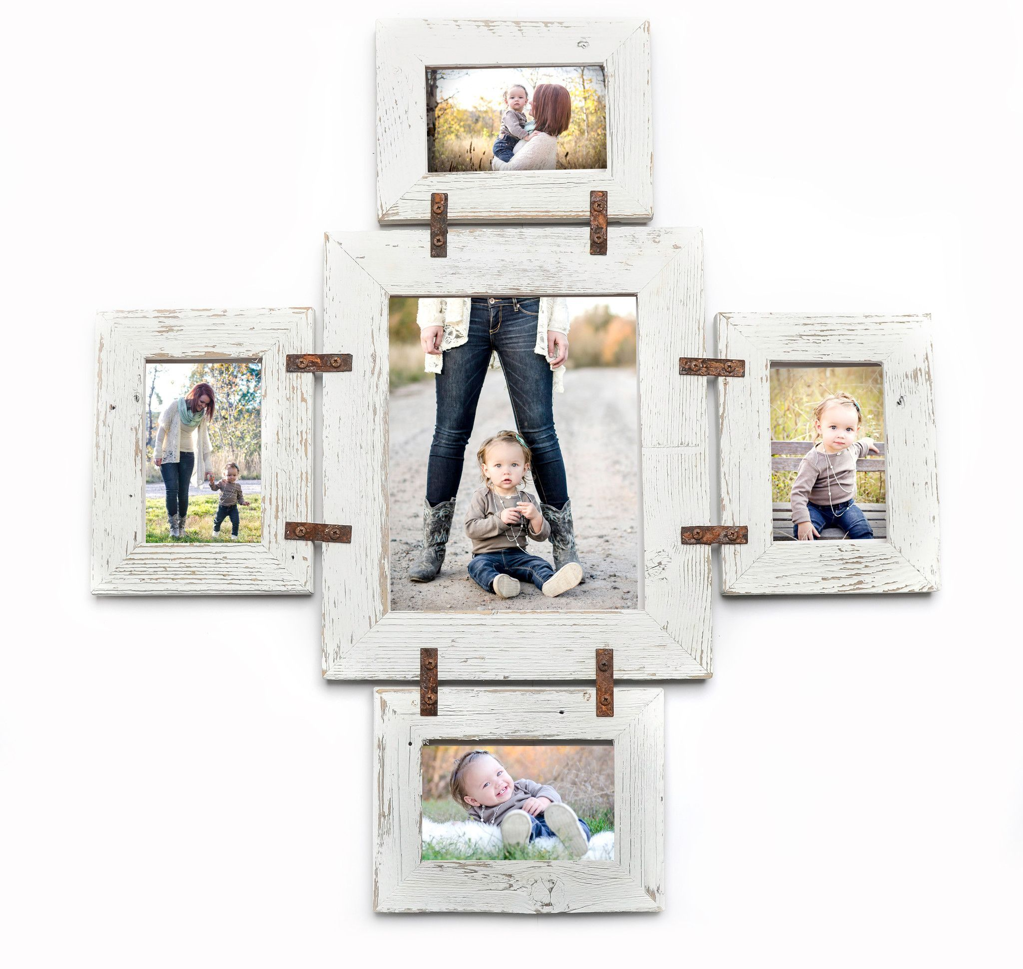 Distressed Rustic Photo Collage Frame 1 8x10 and 4 4x6-Multi Opening ...