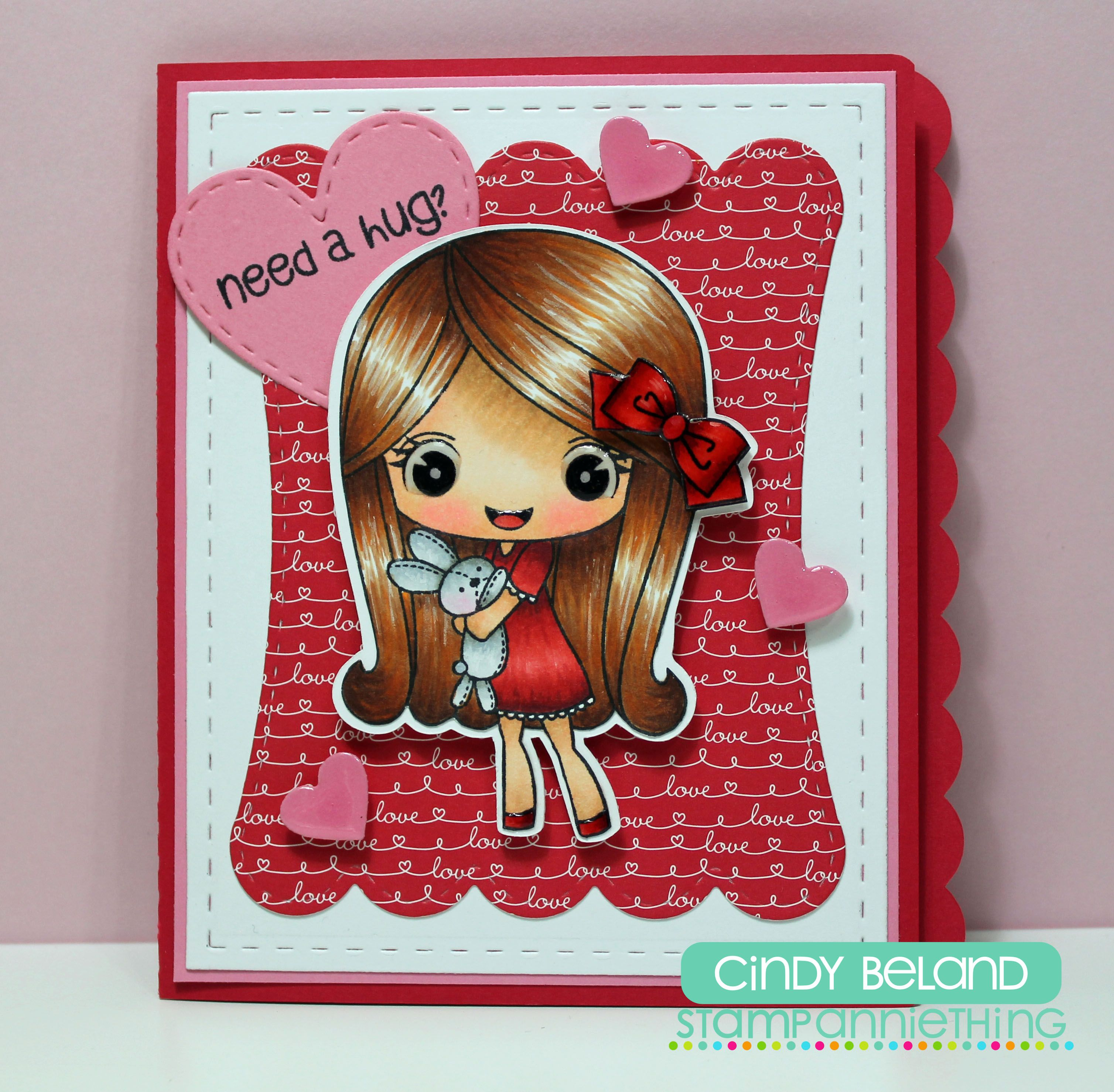 Melanie Need a Hug Stamp. I used the  Side Cut Card - Large Scallop