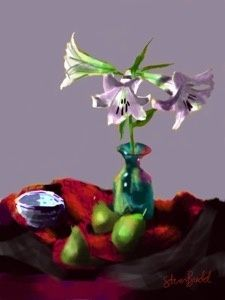 Still Life with Lilies & Pears