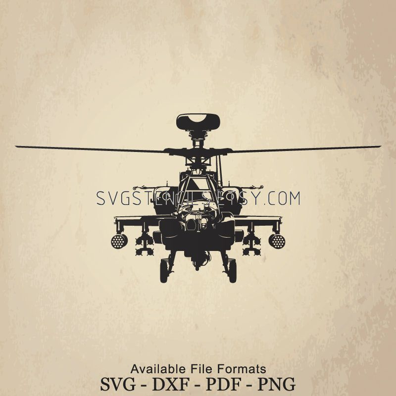Svg Apache Helicopter Front View Stencil Silhouette Etsy In 2021 Prints Stencil Art Svg