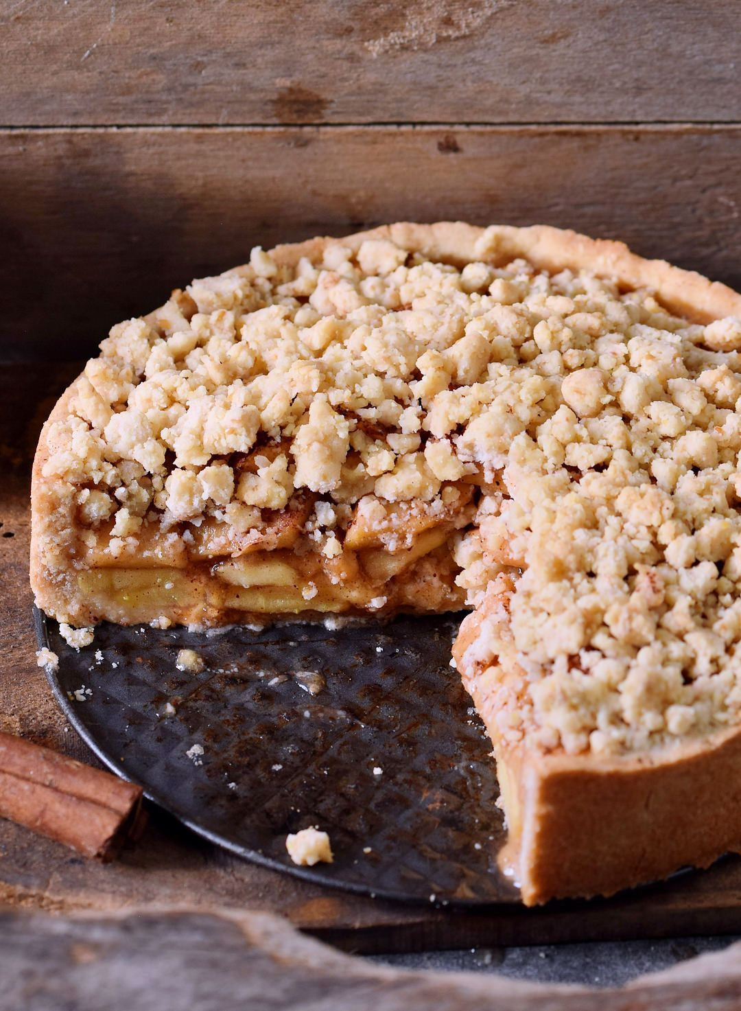 vegan apple pie with streusel is the perfect fall dessert. The recipe is vegan, gluten-free, can be made nut-free, grain-free, and refined sugar-free! Also great for Thanksgiving!