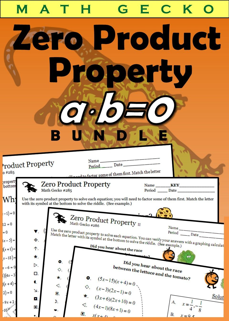 Zero Product Property Bundle Basic Math Skills Teacher Created