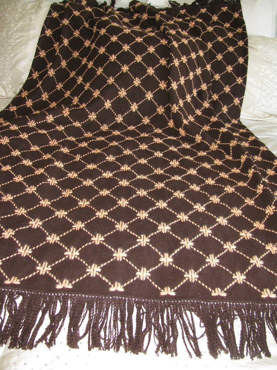 """1 of 2 Chocolate Brown Monk's Cloth Swedish Weaving by rdrunnercreations.  Swedish Woven afghan. The pattern used is """"Daisy Mae"""" and orange ice  acrylic yarn ..."""