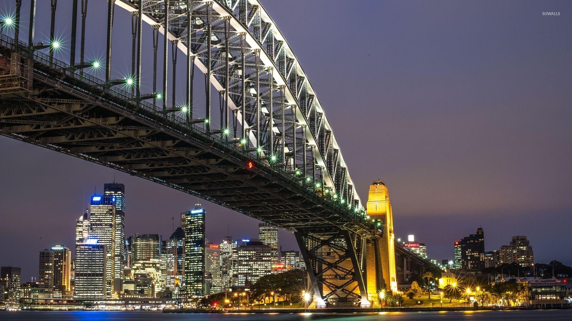 Sydney Opera House And Harbour Bridge At Night Wallpaper