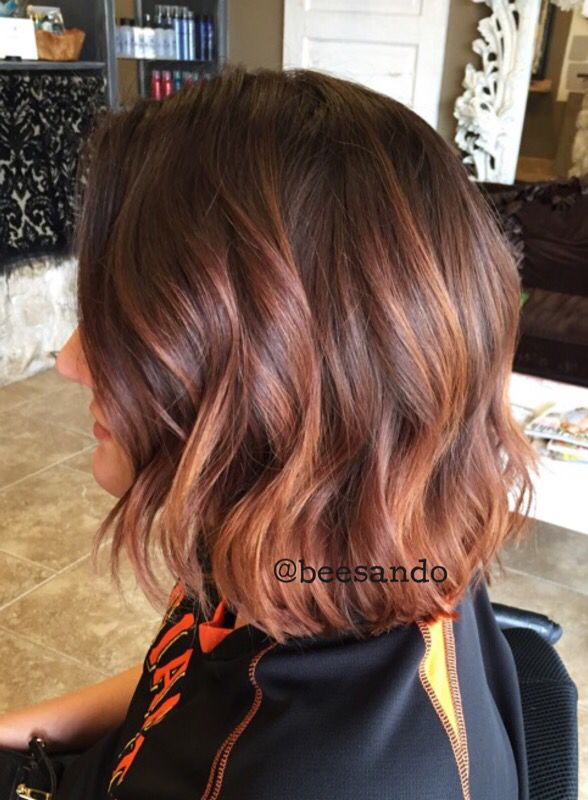 Copper balayage textured bob