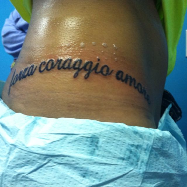 My Tattoo Now...strength Courage Love In Italian