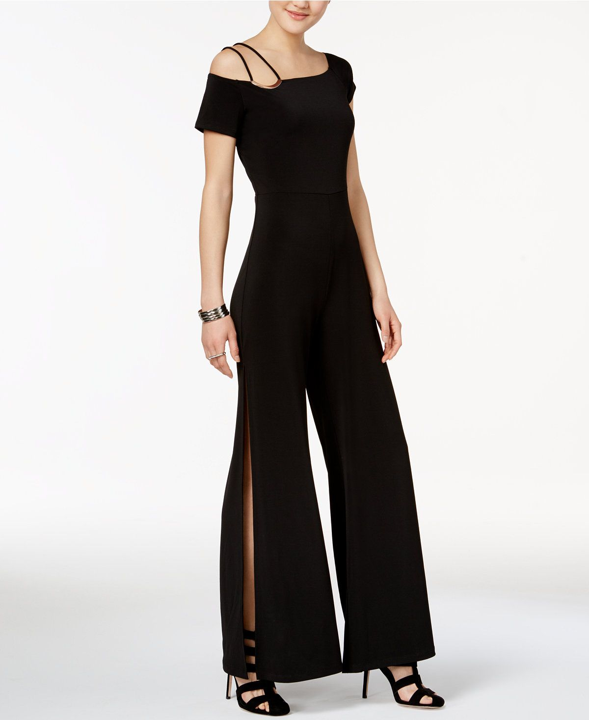 05e813a6d26f Veronica Split-Leg Hardware Jumpsuit - Jumpsuits   Rompers - Women - Macy s  -- GUESS  bold jumpsuit is a modern alternative to the little black dress  with a ...