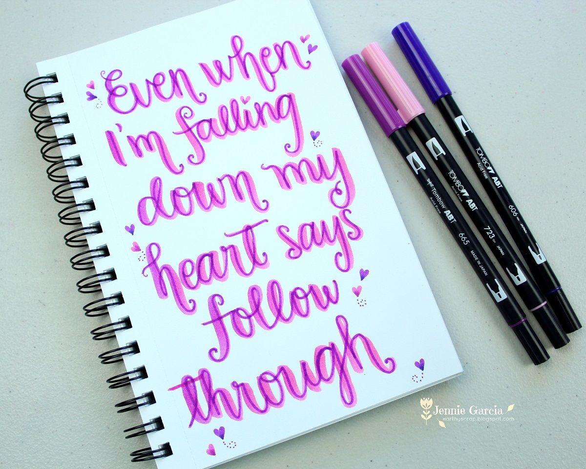 Lettering lyrics by jennie garcia tombow dual brush pen