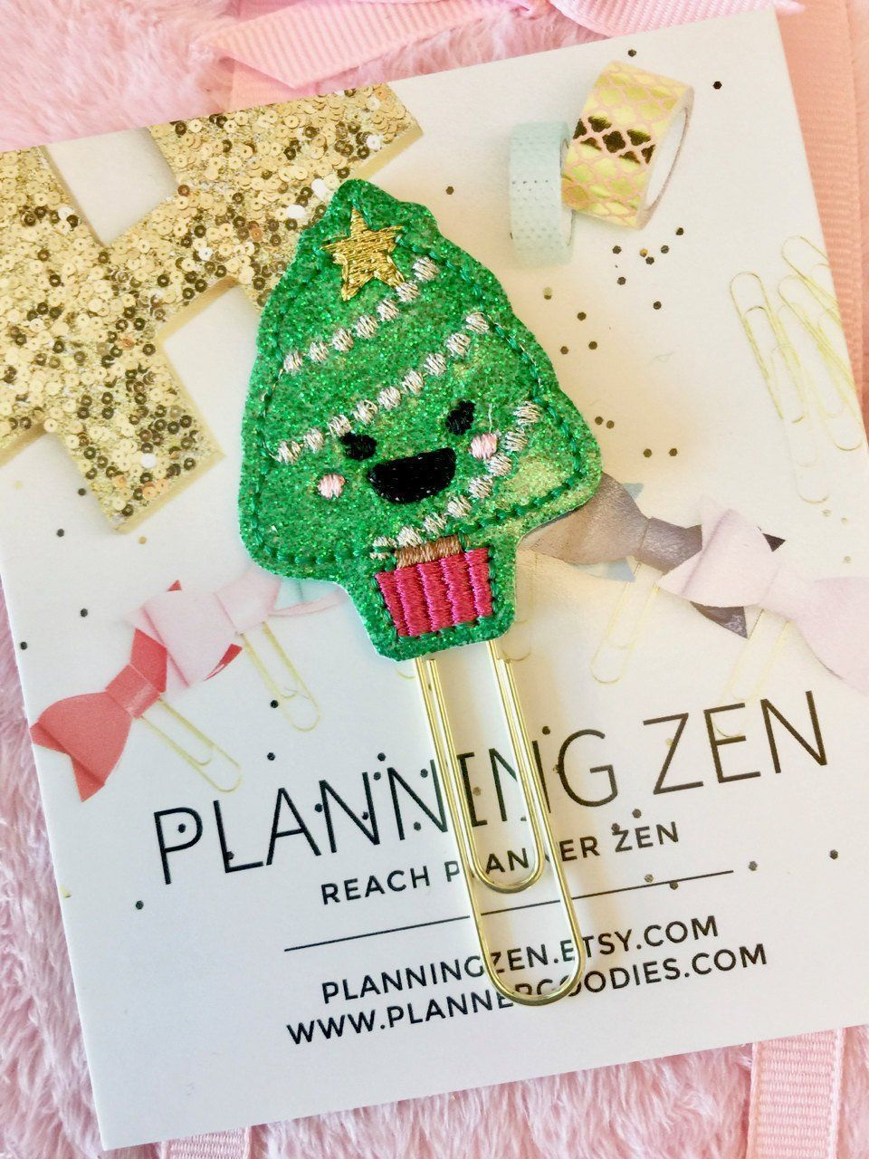 Sparkly Kawaii Christmas Tree Holiday Felt Planner Clip | Planners ...