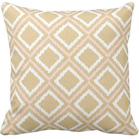 Best Pillow 2020.Square Throw 2020 Pillow Case Cover Blush Pink Tan Ikat
