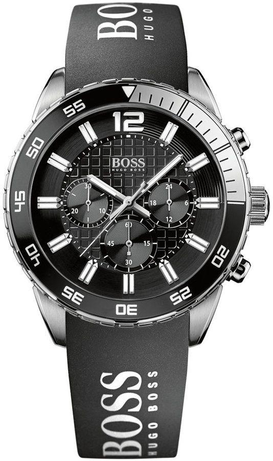 fbcfffece Hugo Boss Watch, Men's Chronograph Black Silicone Strap 44mm 1512868 ...
