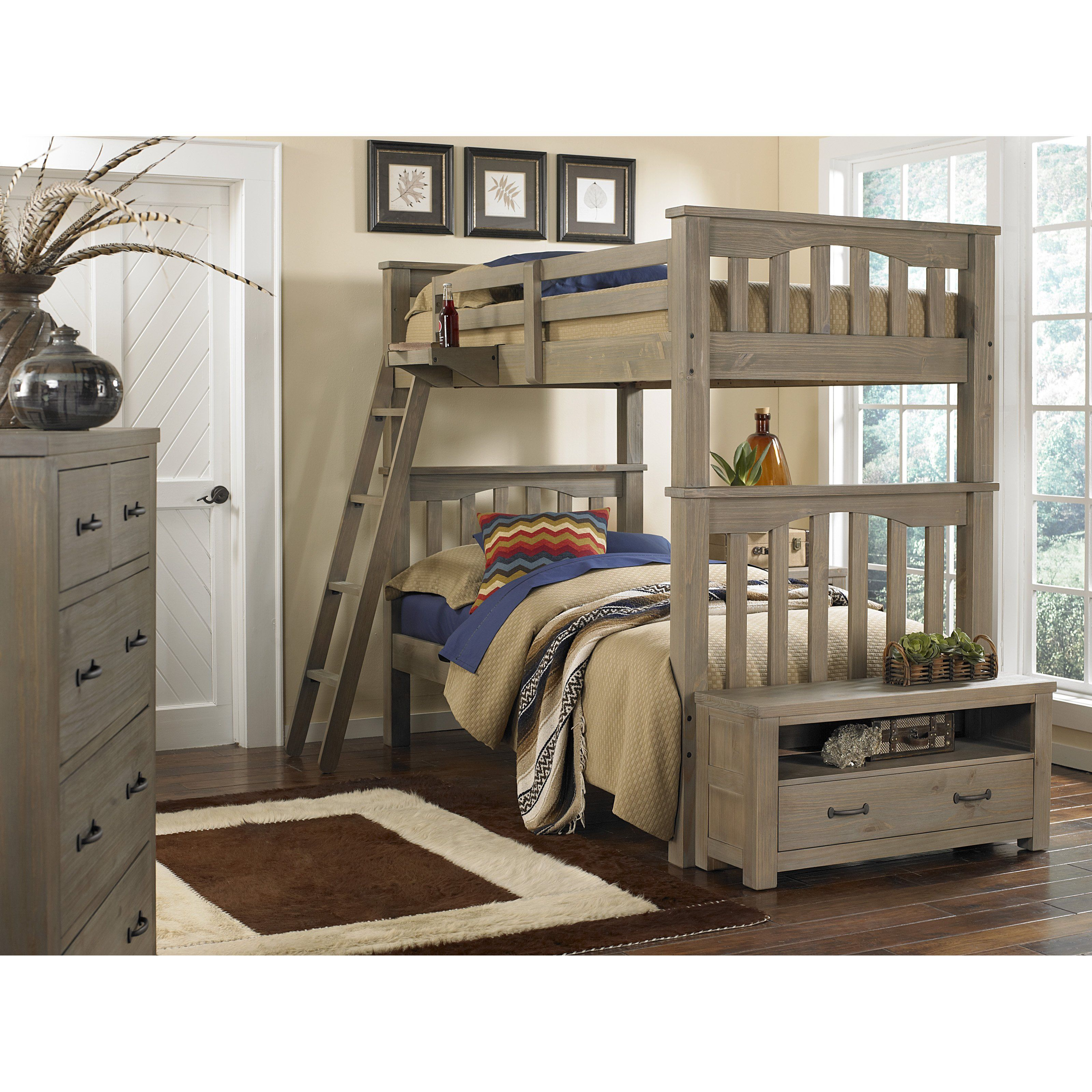 Boys' twin loft bed with storage steps  Have to have it Highlands Harper Twin over Twin Bunk Bed