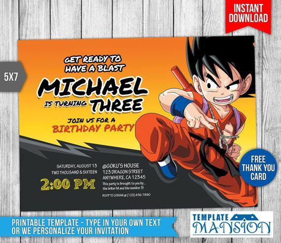 Dragon Ball Z Invitation Dragon Ball Z Birthday By TemplateMansion