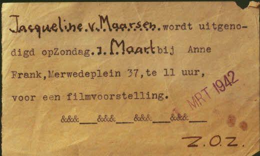 The cinema card from Jacqueline van Maarsen, Anne´s best Friend