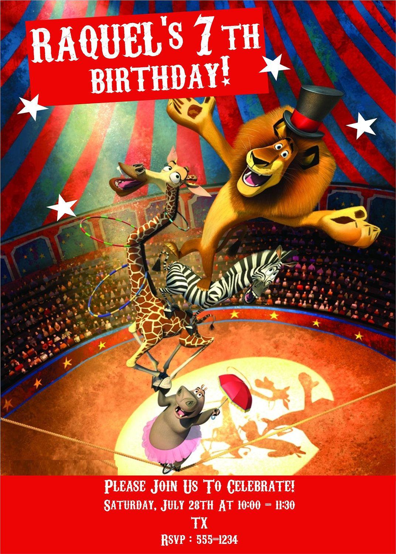 MADAGASCAR 3 Custom Digital Printable Party Invitation - Thank You ...
