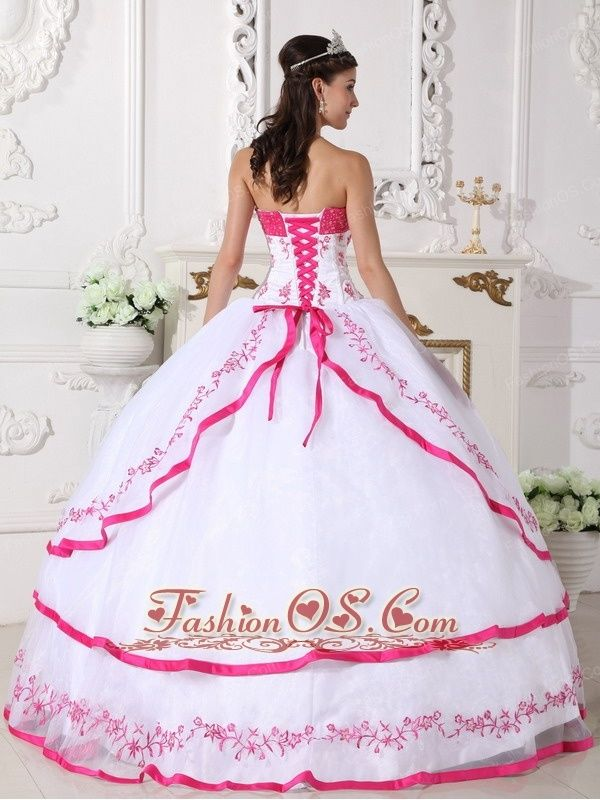 1696b6b48f2 Impression White and Hot Pink Quinceanera Dress Strapless Organza Beading  and Embroidery Ball Gown