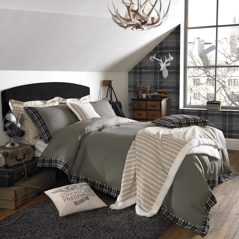 Seattle Bedroom Furniture American Freshman Seattle Check Duvet Cover Charcoal Tartan