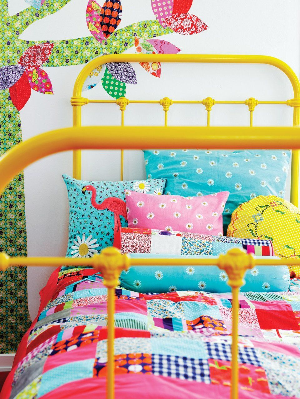 I Like The Yellow Bed Frame. Idea To Pick Up Metal Bed Frames At The  Auction And Spray Vibrant Colours.