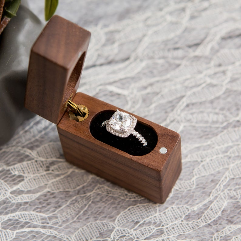 Flip Wood Ring Box Secret Engagement Proposal Ring Box