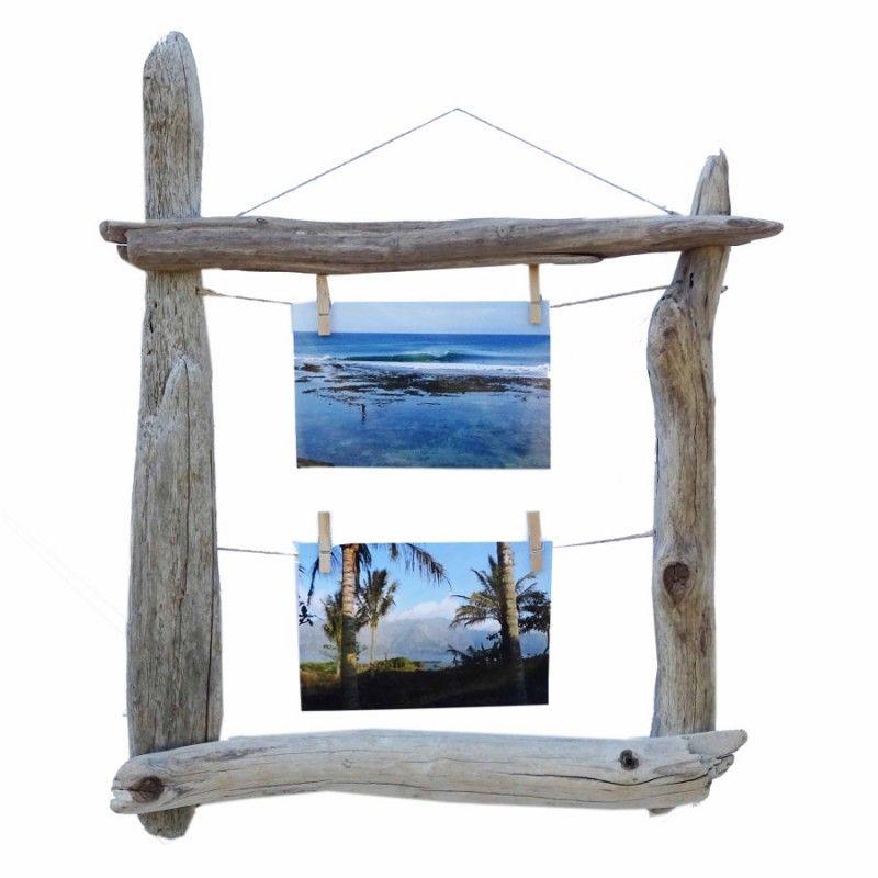 Marco con pinzas hecho de forma artesanal con maderas a la deriva ...